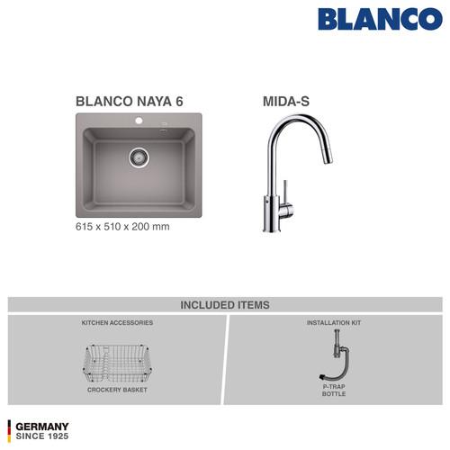 Foto Produk BLANCO Naya 6 Silgranit + BLANCO MIDA Chrome Mixer Taps - Abu-abu dari BLANCO Official Store