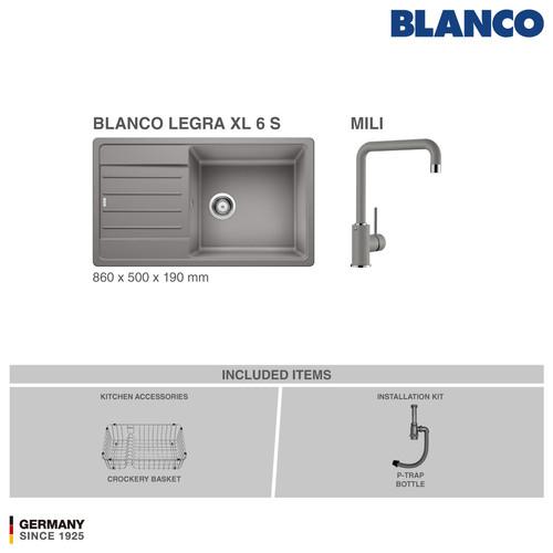 Foto Produk BLANCO Legra XL 6S Silgranit Kitchen Sink - Paket Promo 1 - Alumetalic dari BLANCO Official Store