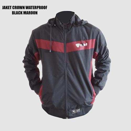 Foto Produk JAKET WATERPROOF CROWN OUTDOOR SERIES - BLACK MAROON, L dari Triple F Official Store