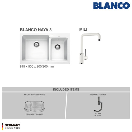 Foto Produk BLANCO Silgranit Naya 8 Paket Bundle 1 - Putih dari BLANCO Official Store