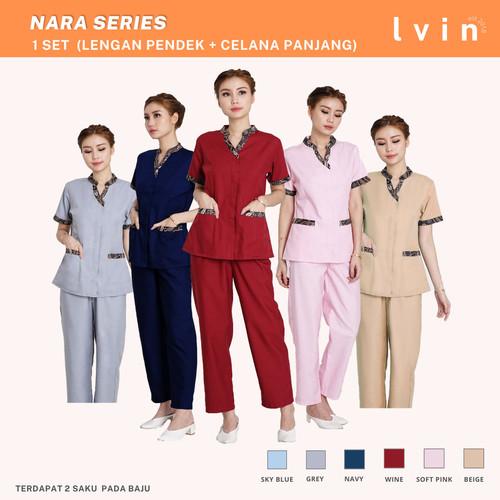 Foto Produk Baju suster batik Nara series / seragam suster / baby sitter - Maroon, L dari Lvin Official