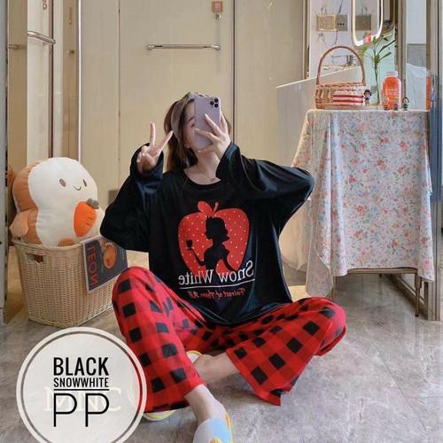 Foto Produk BAJU TIDUR WANITA SET LENGAN CELANA PANJANG JUMBO / PIYAMA SET WANITA - BLACK SNOWWHITE dari Baju tidur dewasa wanita import