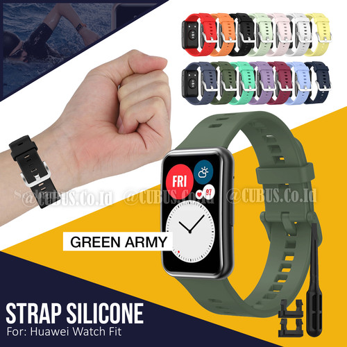 Foto Produk Silicone Strap / Tali Jam Tangan / Rubber Strap for Huawei Watch Fit - Green Army dari Cubus_Co_ID