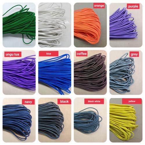 Foto Produk tali karet/tali elastis/tali prame (diameter 2mm) - RANDOM dari konjonstyle