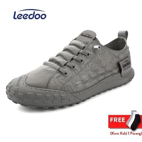 Foto Produk Leedoo Sepatu Sneaker Pria Import Sepatu Kasual Santai MC106 - Abu-abu, 44 dari Leedoo