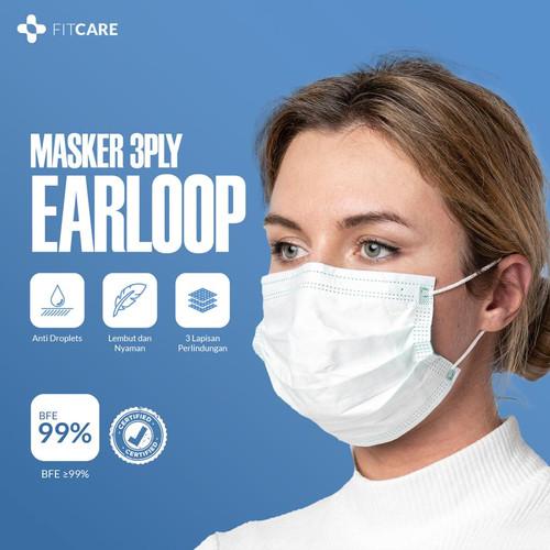Foto Produk ORI & JAMINAN BFE 99%+ - Fitcare Masker Medis Earloop 3ply Isi 50 dari DD Official Store