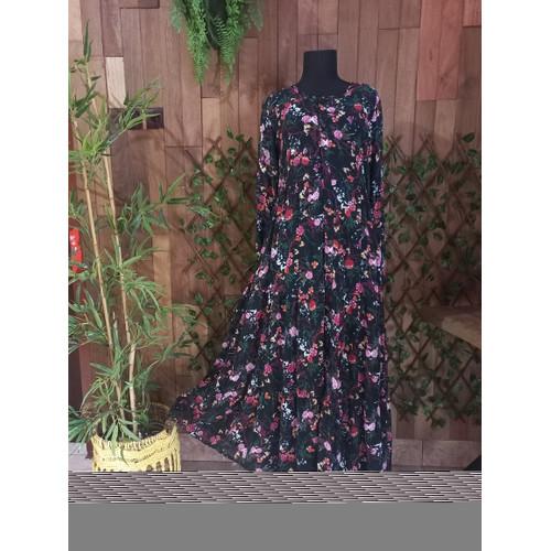 Foto Produk Gamis Full Kancing Motif Bunga (Almeera_Butik_Kajen Dress) dari Almeera_Butik_Kajen