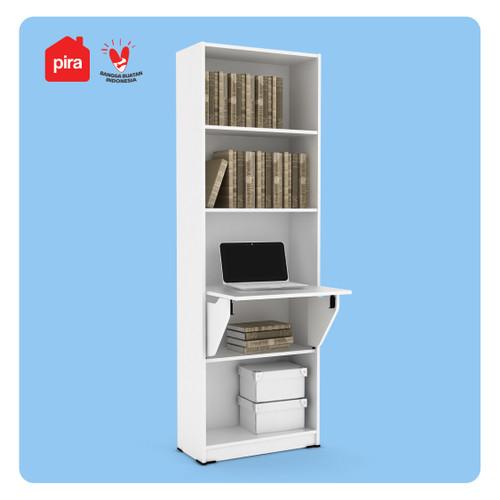 Foto Produk PIRA WORK - ROYCE DK60 Meja Belajar / Meja Kerja Lipat / Rak Buku - White dari PIRA