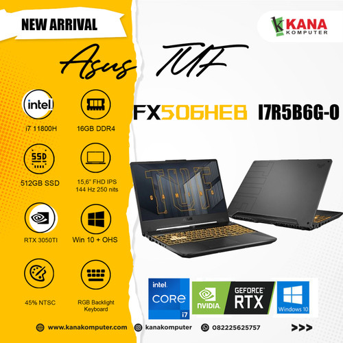 Foto Produk ASUS TUF F15 FX506HEB-I7R5B6G-O Intel Core i7/ RTX 3050Ti/16GB/512GB dari kanakomputer