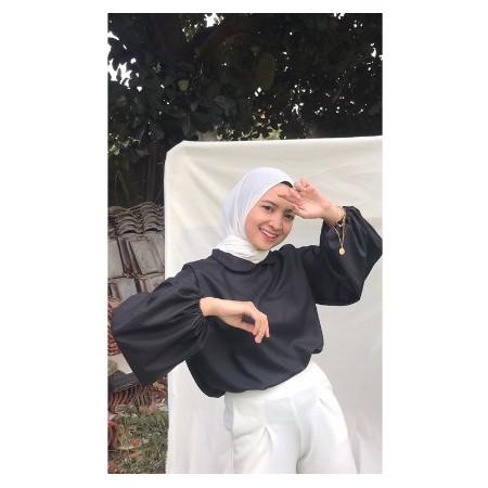Foto Produk wsw- blouse lengan panjang cantik blouse muslim shanoma - SHANOMA HITAM dari Whole Sale Womem