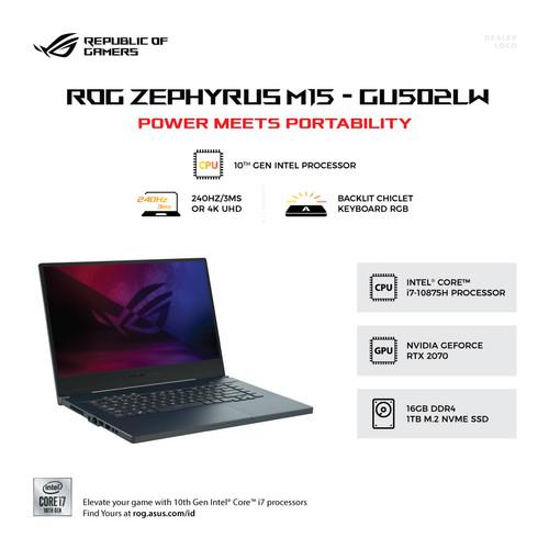 Foto Produk Asus ROG M15 GU502LW I7R7C8T Corei7-10875H/16GB/1TB SSD/RTX2070/Win10 dari SOFTCOM