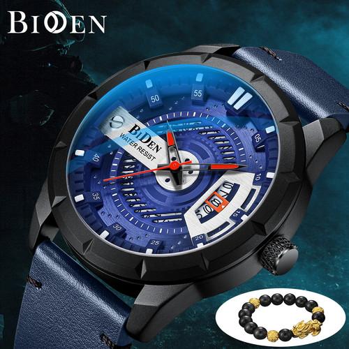Foto Produk BIDEN Jam Tangan Pria Otomatis Date Gelang Kulit Sederhana Jam - Biru dari BIDEN Official Store