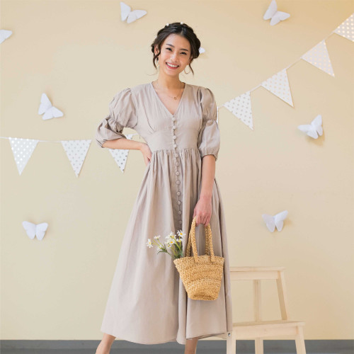 Foto Produk Lolliestory Yejin Cotton Midi dress - creme, S dari Lolliestory Official