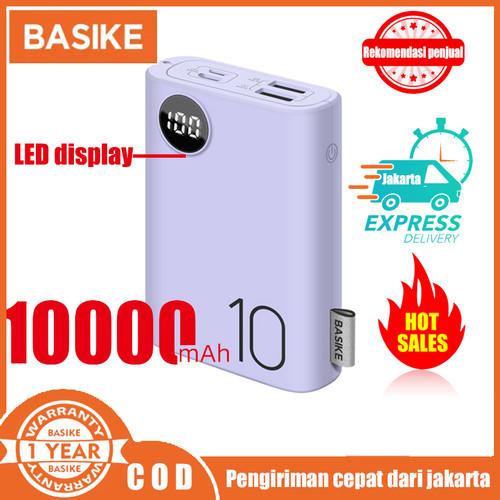 Foto Produk Power Bank Dual USB LCD BASIKE 10000 mAh Mini Murah Fast Charging 2 In - PF23P Purple dari Basike Official Store