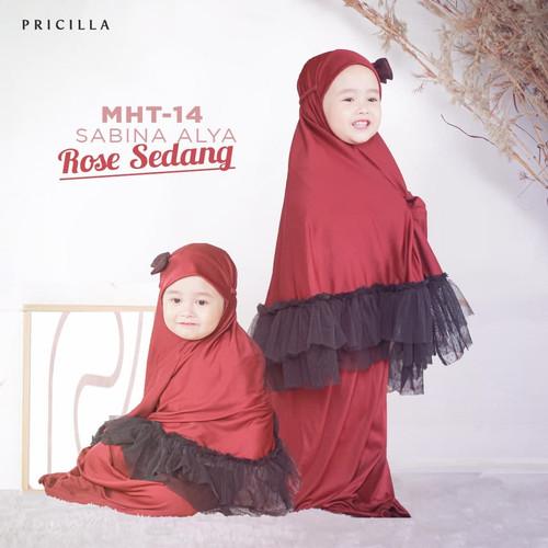 Foto Produk Sabina Alya Mukena Anak Bayi Polos Pita Tile Usia 1-3 Tahun - Merah Hati dari Pricilla Official Store