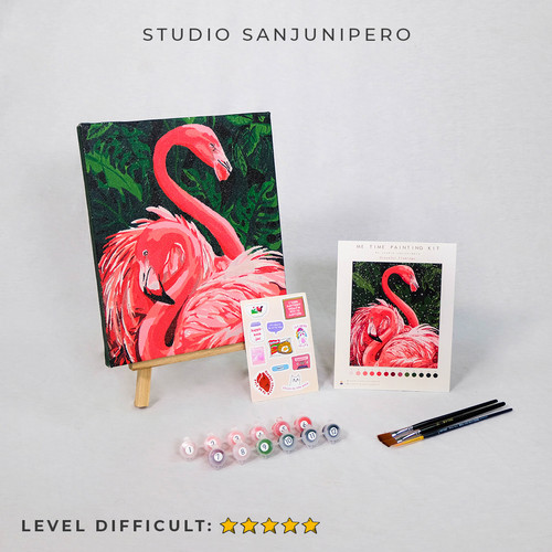 """Foto Produk """"FLAMINGO"""" Painting Kit By Number Studio Sanjunipero - painting only dari Studio sanjunipero"""