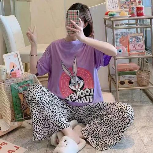 Foto Produk Baju tidur wanita piyama import stelan CP kaos big size //CP BR BUGSBN dari MoonlightCOOO