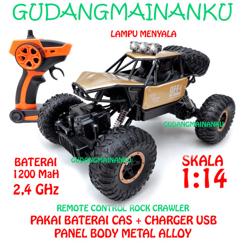 Foto Produk 1:14 RC Remote Control Mobil 4WD ROCK CRAWLER CLIMBER OFFROAD 2.4Ghz - Emas dari Gudangmainanku
