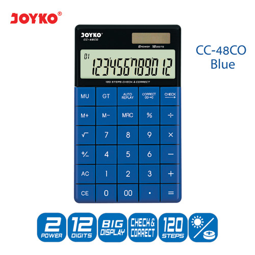 Foto Produk Calculator Kalkulator Joyko CC-48CO 12 Digits Check Correct - Blue dari JOYKO Official