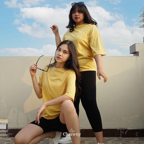 Foto Produk CLOUWNY - Atasan Wanita Colourfull Oversized Tee Premium Cotton - Yellow, XXL dari Clouwny