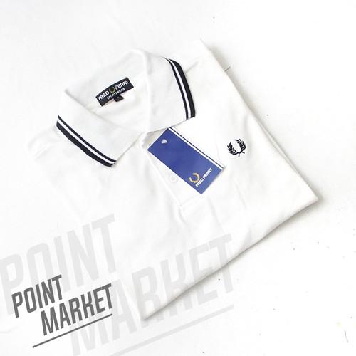 Foto Produk BAJU POLO SHIRT F PERRY TWIN PUTIH LIST HITAM - M, Putih dari PointMarket