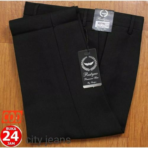 Foto Produk Celana Formal Kantor Kerja Bahan Pria Slimfit Kantoran Panjang Hitam - Hitam, 27 dari Mickonova Store