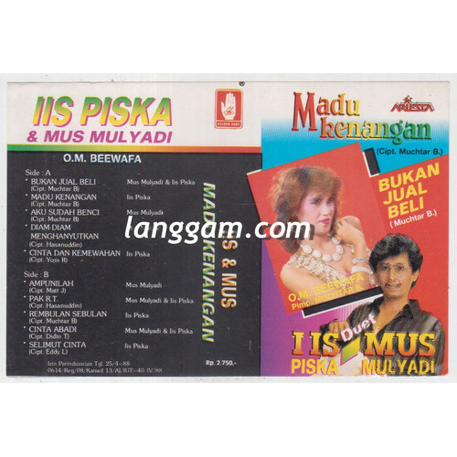 Foto Produk COVER SAMPUL KASET IIS PISKA MUS MULYADI - MADU KENANGAN dari Langgam