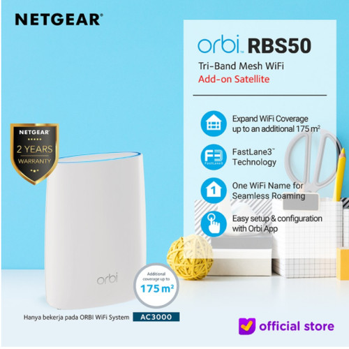 Foto Produk Netgear Orbi RBS50 Tri Band WiFi Add on Satellite AC3000 Mesh Extender dari Netgear Store