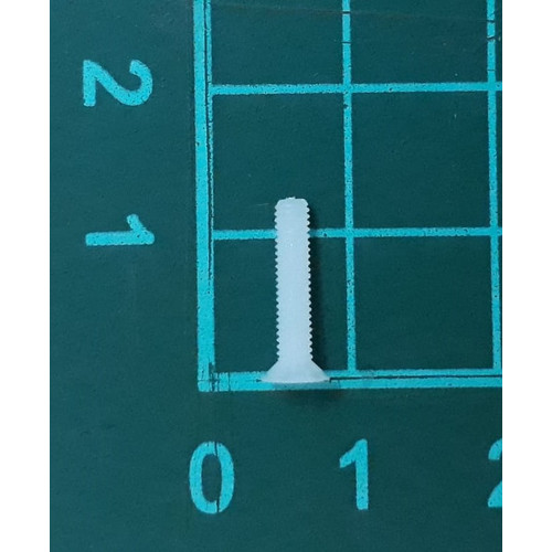 Foto Produk skrup baut screw plastik putih nylon M2,5 x 12 mm kepala miring dari SentraOnlineShop