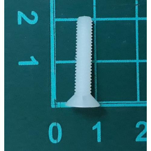 Foto Produk skrup baut screw plastik putih nylon M4 x 20 mm kepala miring dari SentraOnlineShop