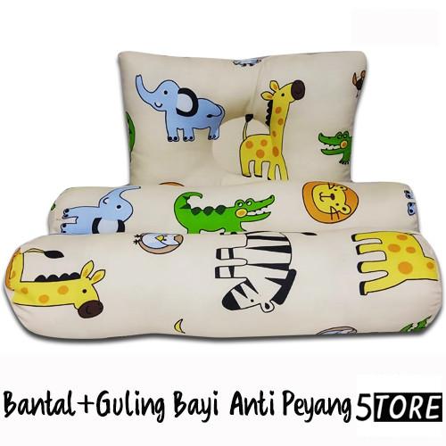 Foto Produk Bantal Guling Bayi Anti Peyang - 3in1 Set Perlengkapan Tidur Bayi - Cream dari 5Store