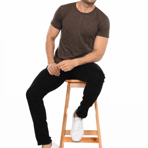 Foto Produk kaos polos pria twotone lengan pendek kerah bulat - biru denim, M dari Kerry Onlineshop