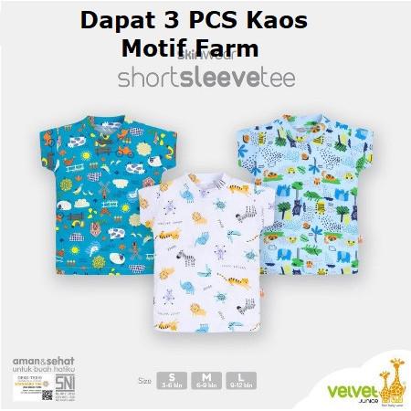 Foto Produk Short Sleeve Tee VELVET JUNIOR Kaos Oblong Baju Atasan Harian Bayi - 3-6 Bulan, 3 PCS FARM dari Mamia Sale