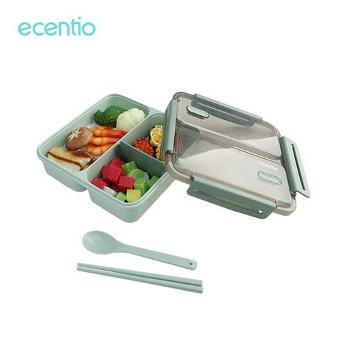 Foto Produk Ecentio 1100ml 3 grid lunch box anti bocor/ anti percikan kotak makan - Hijau dari ecentio Official Store
