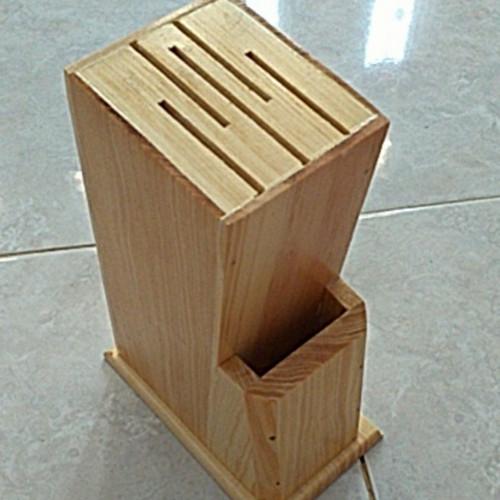 Foto Produk Tempat Pisau / Wadah Pisau dari Kayu Pinus - T.Pisau Natral dari el_artgallery