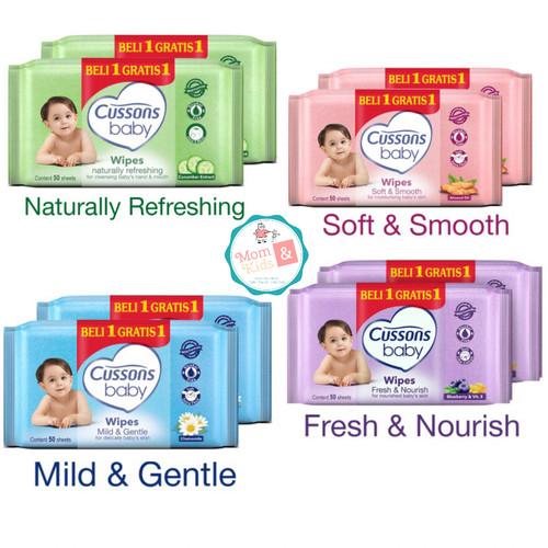 Foto Produk Cussons Baby Wipes Tissue Basah 50s+50s - Ungu dari Toko Susu Mom n Kids