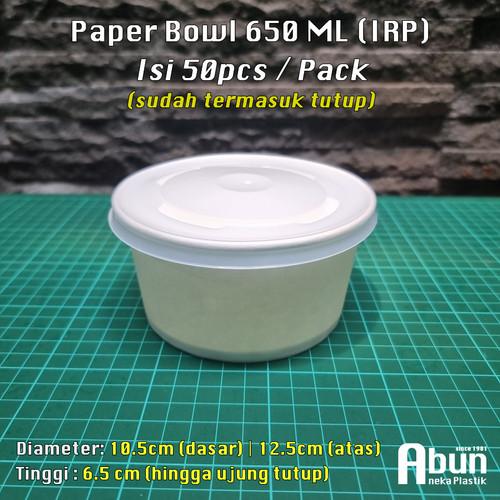 Foto Produk Paper Bowl IRP 650 ML 50pcs + Lid - Standar dari Abun Aneka Plastik
