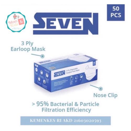 Foto Produk masker medis 3 ply ear loop / masker merk seven - Biru Muda dari Toko Susu Mom n Kids