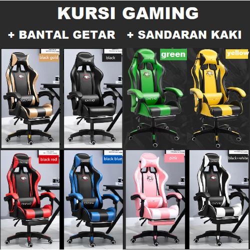 Foto Produk Kursi Gaming Chair Computer Bangku Gaming Game Chaho Murah - Hitam Footrest dari Happy Woman