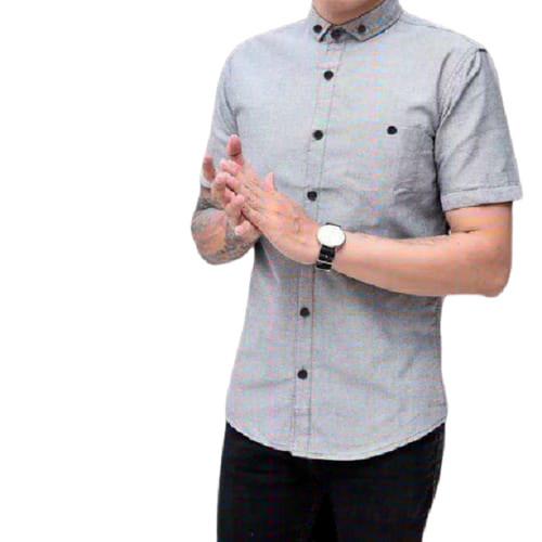 Foto Produk Kemeja pria lengan pendek baju cowok polos kasual big size hem pria - Abu-abu, M dari tunasmaju