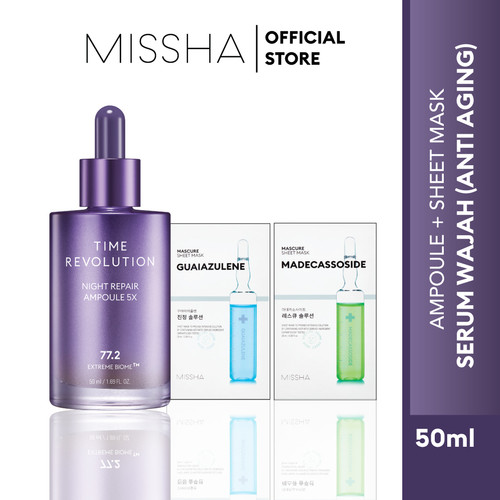 Foto Produk MISSHA TIME REVOLUTION NIGHT REPAIR AMPOULE 5X (50ML) - Free 2 Mascure dari Missha Indonesia