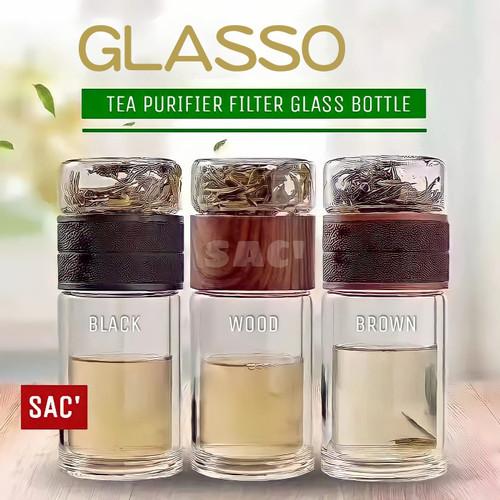 Foto Produk GLASSO Tea Infuser Bottle Double Glass Botol Minum Teh Tea Set Tumbler - WOOD dari Shop at Christine's