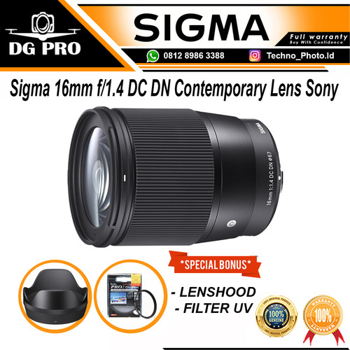 Foto Produk Sigma 16mm f1.4 DC DN Contemporary Lens for Sony E Mount - SONY dari DG PRO