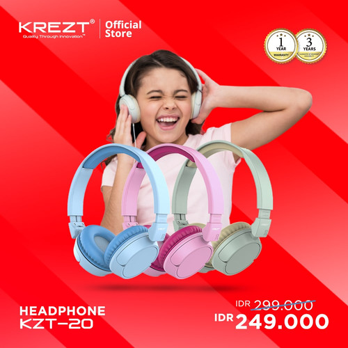 Foto Produk KIDS HEADPHONE KREZT KZT20 - HEADSET ANAK - HEADPHONE ANAK - Merah Muda dari KREZT