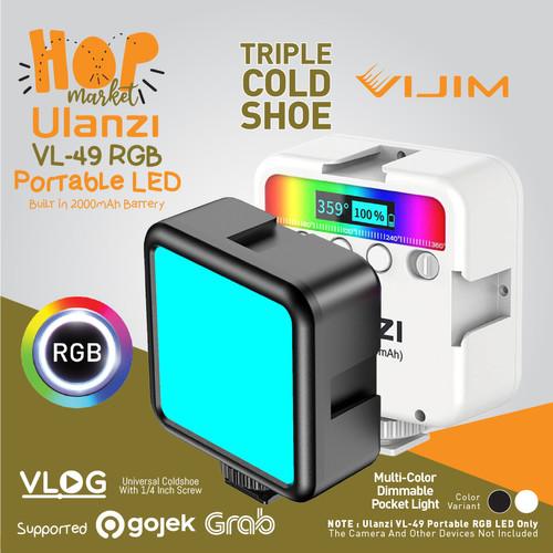 Foto Produk ULANZI VL49 RGB Studio LED Light Lampu Vlog Portable Smartphone HP - BLACK dari HOP Market
