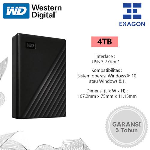 "Foto Produk WD My Passport 4TB -HDD Hardisk Eksternal 2.5""- Hitam - Hitam dari Exagon"