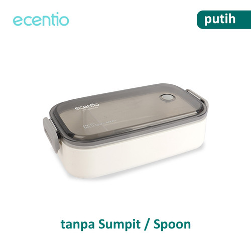 Foto Produk ecentio Kotak Makan Siang Desain Tingkat 800/1600 ml - 800 ml, Putih dari ecentio Official Store