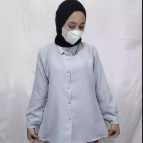 Foto Produk kemeja wanita / Kemeja Polos /kemeja lengan panjang - Abu-abu, L dari NcStoreId