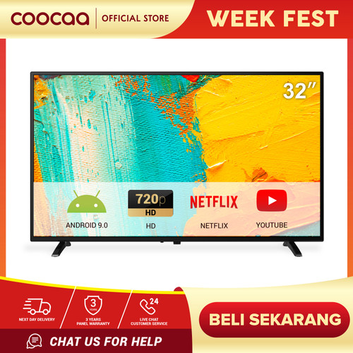 Foto Produk COOCAA Digital TV LED 32 inch - Android 9.0 - Panel HD - Youtube - Net dari Coocaa Official Store