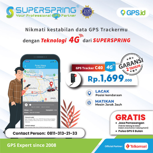 Foto Produk GPS TRACKER SUPERSPRING PELACAK KENDARAAN C40 (READY) Jaringan 4G dari Super Spring Official